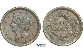 AA906, United States, Braided Hair Half Cent 1853, Philadelphia, XF-AU