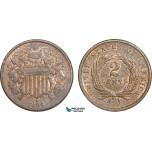AA908, United States, Shield 2 Cents 1864, Philadelphia, Brown AU