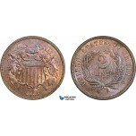 AA910, United States, Shield 2 Cents 1865, Philadelphia, Red Brown UNC (Hairlines)
