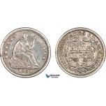 AA911, United States, Liberty Seated Half Dime (5C) 1851-O, New Orleans, Silver, Toned XF-AU