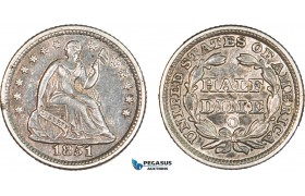 AA911, United States, Liberty Seated Half Dime (5C) 1851-O, New Orleans, Silver, Toned XF-AU