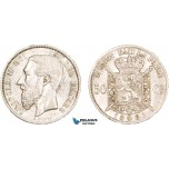 AA913, Belgium, Leopold II, 50 Centimes 1881, Brussels, Silver, Minor edge nick, XF