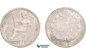 AA914, French Indo-China, 10 Centimes 1888-A, Paris, Silver, VF-XF, some light scratches