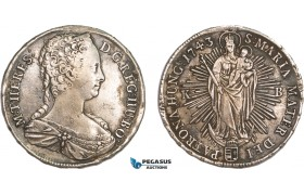 AA916, Hungary, Maria Theresia, Taler 1743 KB, Kremnitz, Silver (27.27g) XF, mount removed!