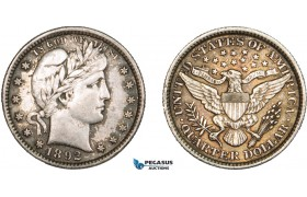 AA922, United States, Barber Quarter (25C) 1892, Philadelphia, Silver, Toned AU, Obv. Cleaned!