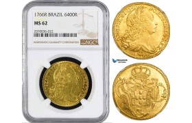 AA923, Brazil, Jose I, 6400 Reis 1766-R, Rio de Janeiro, Gold, NGC MS62, Top Pop!
