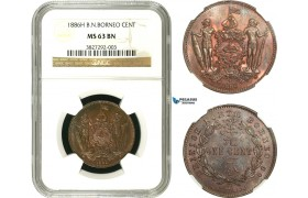 AA924, British North Borneo, Cent 1886-H, Heaton, NGC MS63BN