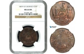 AA925, British North Borneo, Cent 1887-H, Heaton, NGC MS64BN