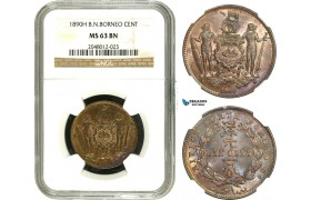 AA926, British North Borneo, Cent 1890-H, Heaton, NGC MS63BN