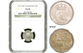 AA929, Denmark, Christian X, 25 Øre 1914, Copenhagen, Silver, NGC AU58, Rare!