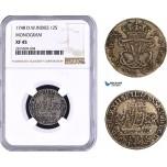 AA930, Danish West Indies, Frederik V, 12 Skilling 1748, Silver, NGC XF45, Top Pop