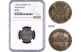 AA930, Danish West Indies, Frederik V, 12 Skilling 1748, Silver, NGC XF45, Top Pop