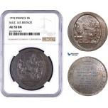 AA931, France, First Republic, Monneron of 5 Sols 1792, Paris, NGC AU55BN