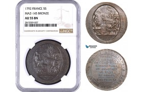 AA931, France, First Republic, Monneron of 5 Sols 1792, Paris, NGC AU55BN