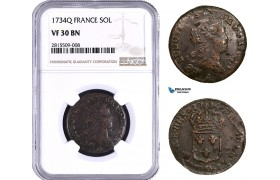 AA932, France, Louis XV, Sol 1734 Q, Perpignan, NGC VF30BN, Very Rare, Top Pop!