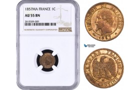 AA933, France, Napoleon III, 1 Centime 1857-MA, Marseilles, NGC AU55BN