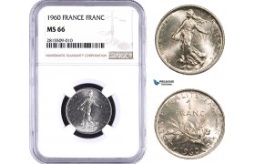 "AA934, France, Fifth Republic, 1 Franc 1960 ""Large 0"" Paris, NGC MS66, Top Pop"