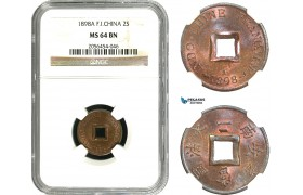 AA936, French Indo-China, 2 Sapeque 1898-A, Paris, NGC MS64BN