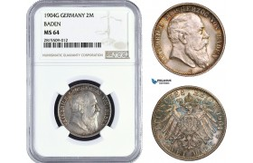 AA939, Germany, Baden, Friedrich, 2 Mark 1904-G, Karlsruhe, Silver, NGC MS64, Top Pop!