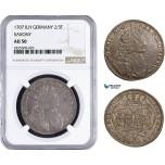 AA940, Germany, Saxony (Saxon-Polish) August II, 2/3 Taler 1707 ILH, Dresden, Silver, NGC AU50, Rare!