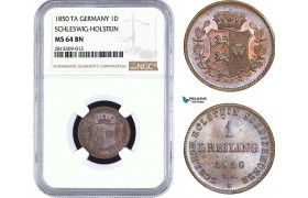 AA941, Germany, Schleswig-Holstein, 1 Dreiling 1850 TA, Altona, NGC MS64BN, Top Pop!