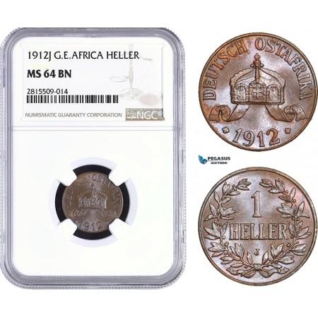 AA942, German East Africa (DOA) 1 Heller 1912-J, Hamburg, NGC MS64BN