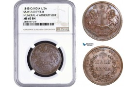 AA944, India (EIC) 1/2 Anna 1845 (C) Calcutta, S&W 2.60, Type B, Num. 4 With. Serif, NGC MS65BN, Top Pop!