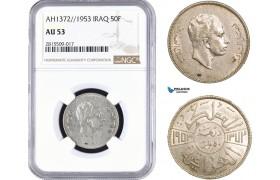 AA945, Iraq, Faisal II, 50 Fils AH1372//1953, Silver, NGC AU53, Rare!