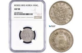 AA946, Korea, Yi Hyong, Yang Yr. KK502 (1893) Silver, NGC AU58