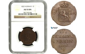 AA949, Norway, Carl XIV Johan, 1 Skilling 1820, Kongsberg, NM 59, NGC AU55BN