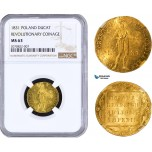 AA950, Poland, Revolutionary, Ducat 1831, Gold, NGC MS63, Rare! Only one graded finer!
