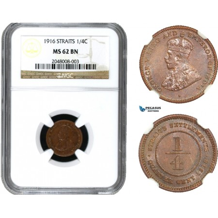 AA951, Straits Settlements, George V, 1/4 Cent 1916, NGC MS62BN