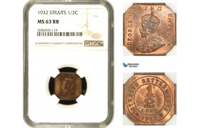 AA952, Straits Settlements, George V, 1/2 Cent 1932, NGC MS63RB