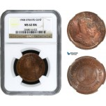 AA954, Straits Settlements, Edward VII, 1 Cent 1908, NGC MS62BN