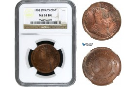 AA954, Straits Settlements, Edward VII, 1 Cent 1908, NGC MS62BN