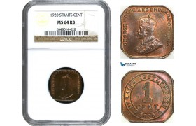 AA955, Straits Settlements, George V, 1 Cent 1920, NGC MS64RB