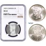 AA960, Sweden, Gustaf V, 2 Kronor 1929 G, Stockholm, Silver, NGC MS63