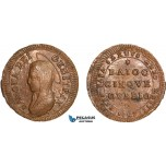 AA964, Italy, Gubbio, 5 Baiocchi 1797, Red Brown, UNC