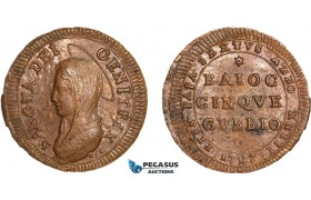 AA964, Italy, Gubbio, 5 Baiocchi 1797, Red Brown, UNC