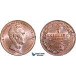 AA967, Sweden, Oscar I, 2/3 Skilling Banco 1845 (Large bust) Stockholm, Red UNC (Edge flaw)