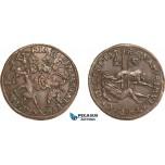 AA974, Netherlands, Dordrecht Bronze Token 1579 (Ø31mm, 6.1g) Execution of the Counts of Hoorne & Egmont