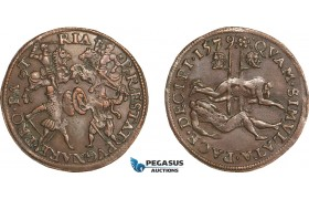 AA974, Netherlands, Dordrecht Bronze Token 1579 (Ø31mm, 6.1g) Execution of the Counts of Hoorne & Egmont