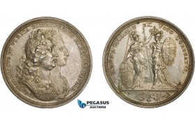AA980, Sweden & Germany, Silver Medal 1720 (Ø43.5mm, 29.7g) by Vestner, Coronation of Frederick I, Ulrika Eleonora