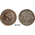 AA981, Sweden, Bronze Medal 1780 (1784) (Ø28mm, 14.9g) Admiral Hendrik af Trolle