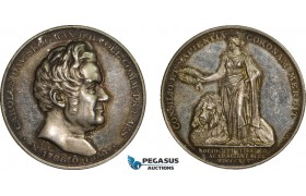 AA984, Sweden, Silver Art Nouveau Medal 1895 (Ø31, 15.5g) by Ahlborn, Science Academy, Carl Scogman, Genealogy