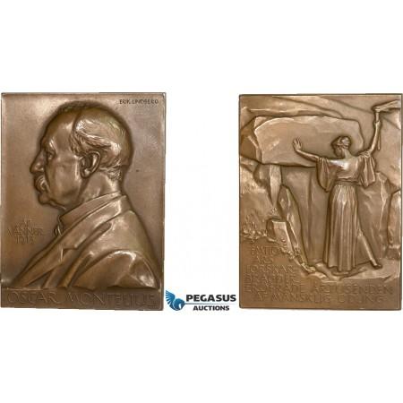 AA986, Sweden, Bronze Art Nouveau Plaque Medal 1913 (63x48mm, 89g) by Lindberg, Oscar Montelius, Archeologist