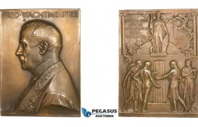 AA987, Sweden, Bronze Plaque Medal 1916 (65x48mm, 87g) by Lindberg, Uppsala University, Athena