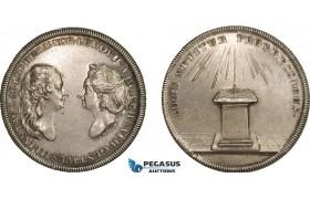 AA989, Sweden & Germany, Gustav III, Silver Medal (1920 Restrike) (Ø34mm, 18.1g) By Fehrman, Louisa Ulrika