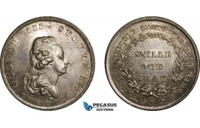 AA991, Sweden, Gustav III, Silver Swedish Academy Medal of Merit (1786) Restrike of 1925 (Ø34.5mm, 20.6) by Fehrman