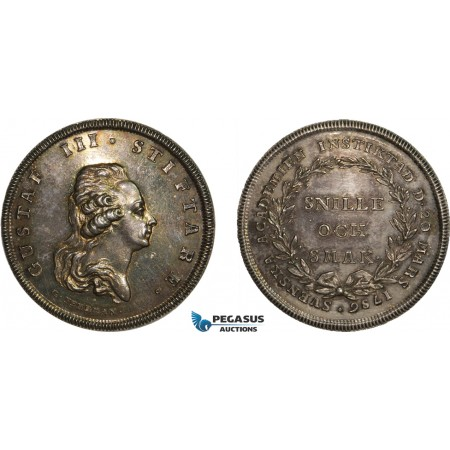 AA990, Sweden, Gustav III, Silver Swedish Academy Medal of Merit (1786) Restrike of 1919 (Ø34.5mm, 16.9) by Fehrman